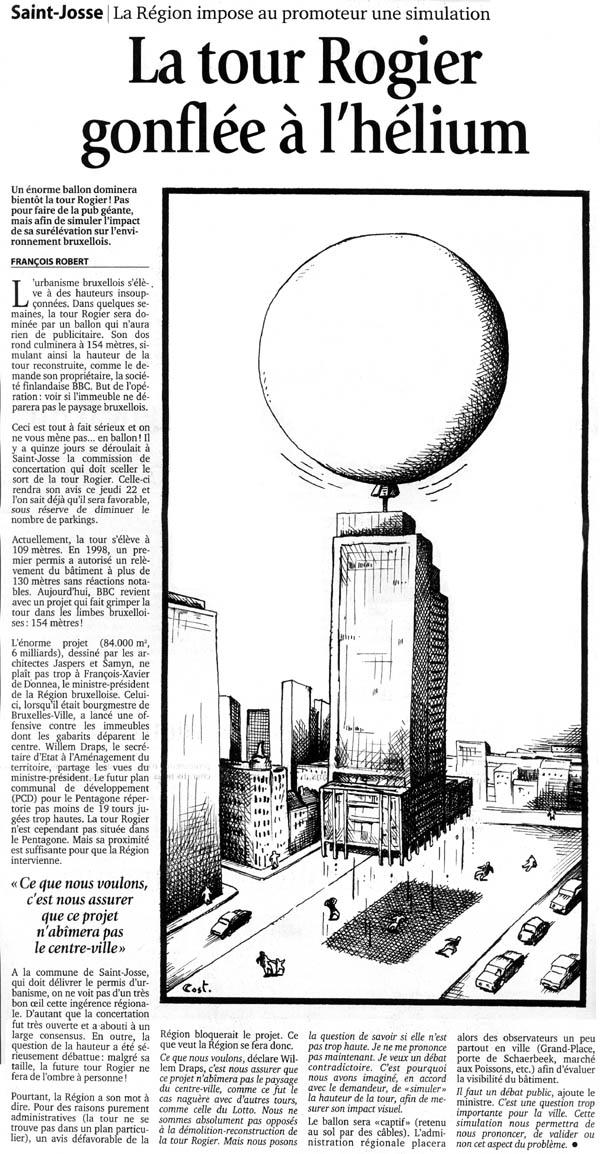 Le soir 21 03 2001 la tour rogier gonflée à l hélium françois