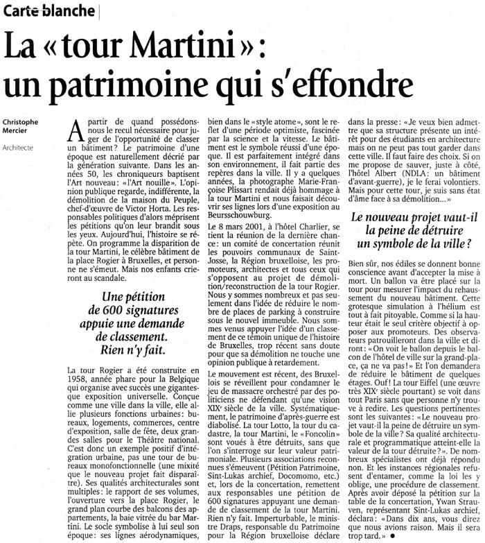 Le soir 29 03 2001 la tour martini un partrimoine qui s effondre ch