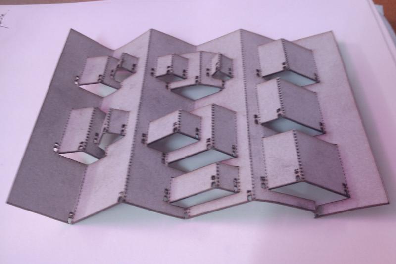 First laser cut on cardboard (size A5)