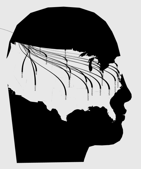 A map of the red states, mapped on a head